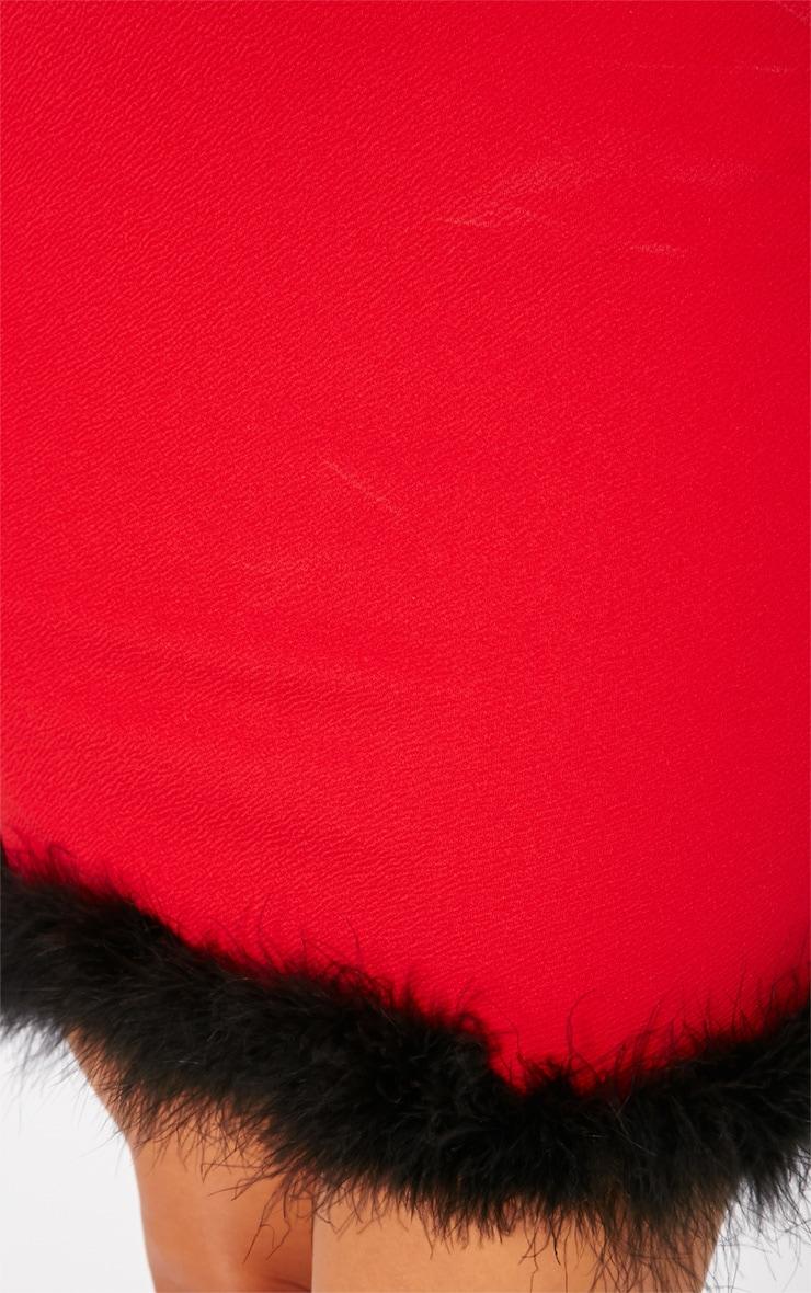 Maya Red Fluffy Trim Dress 5