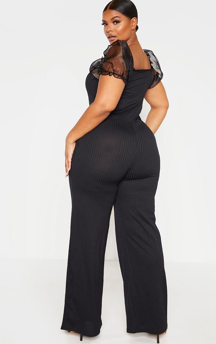 Plus Black Organza Sleeve Wide Leg Jumpsuit 2
