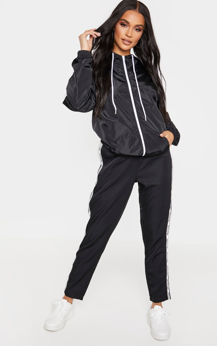 Black Contrast Zip Up Hooded Mac 4