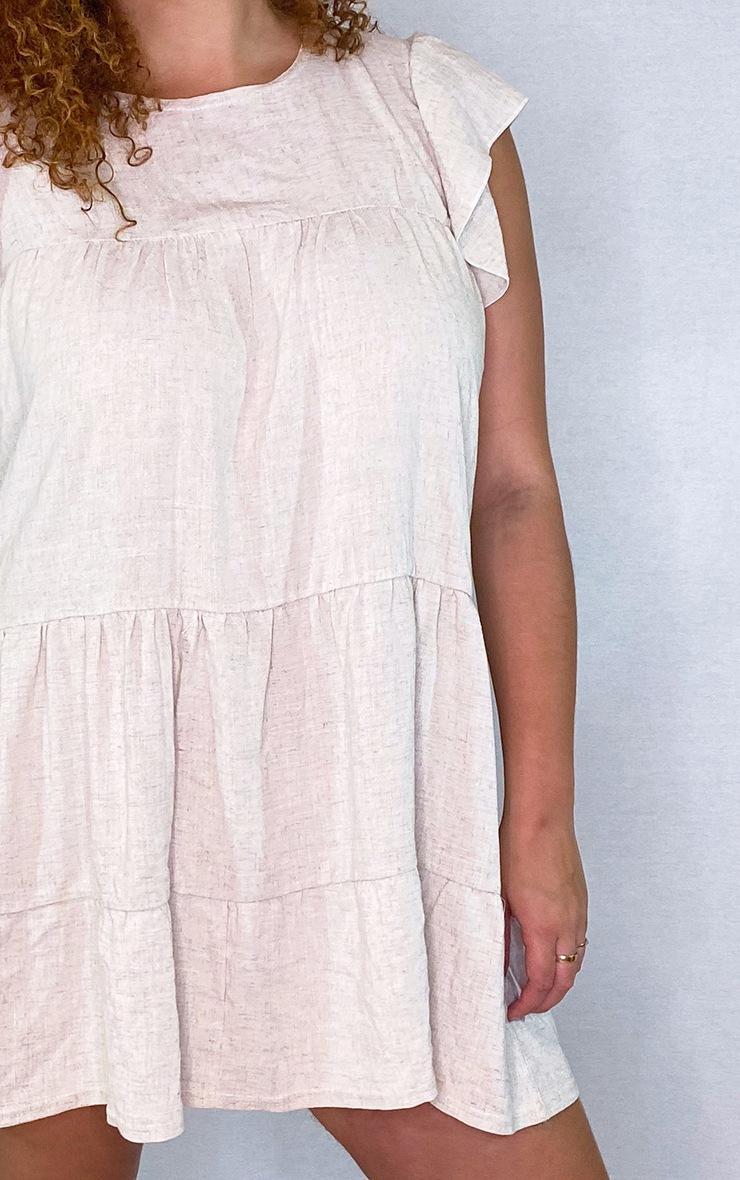 PLT Plus - Robe blouse effet lin gris pierre à manches volantées  4