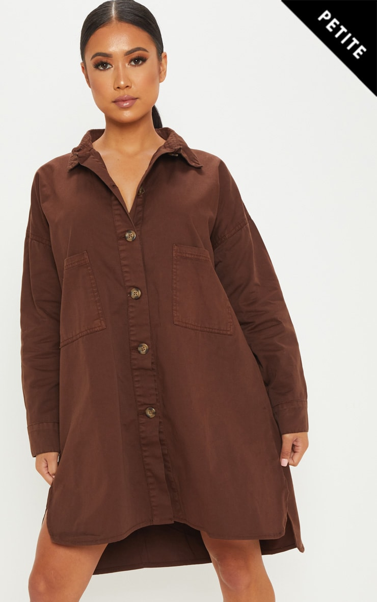 Petite Chocolate Brown Tortoise Button Oversized Denim Shirt Dress 1