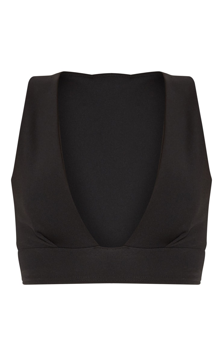 Black Scuba Plunge Crop Top  3