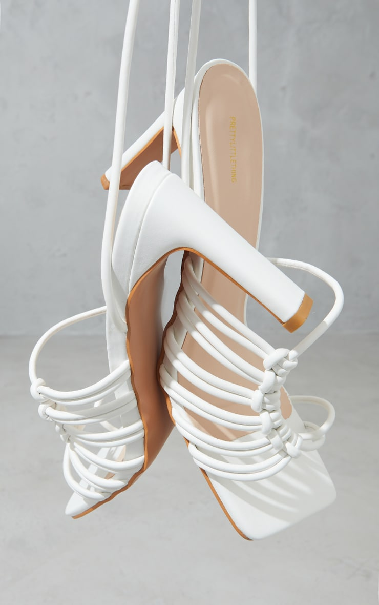 White PU Toe Loop Knot Side Detail Lace Up Flat Heeled Sandals 4