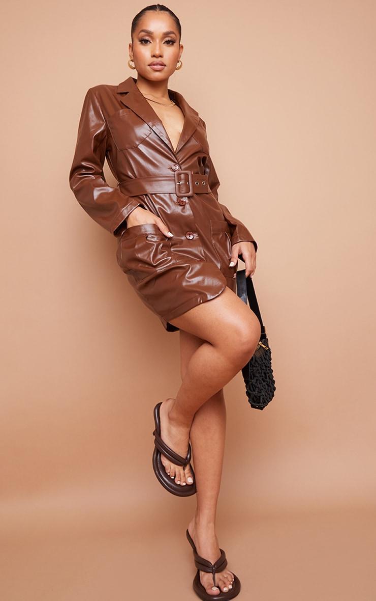 Petite Chocolate Pu Utility Belted Mini Dress 3