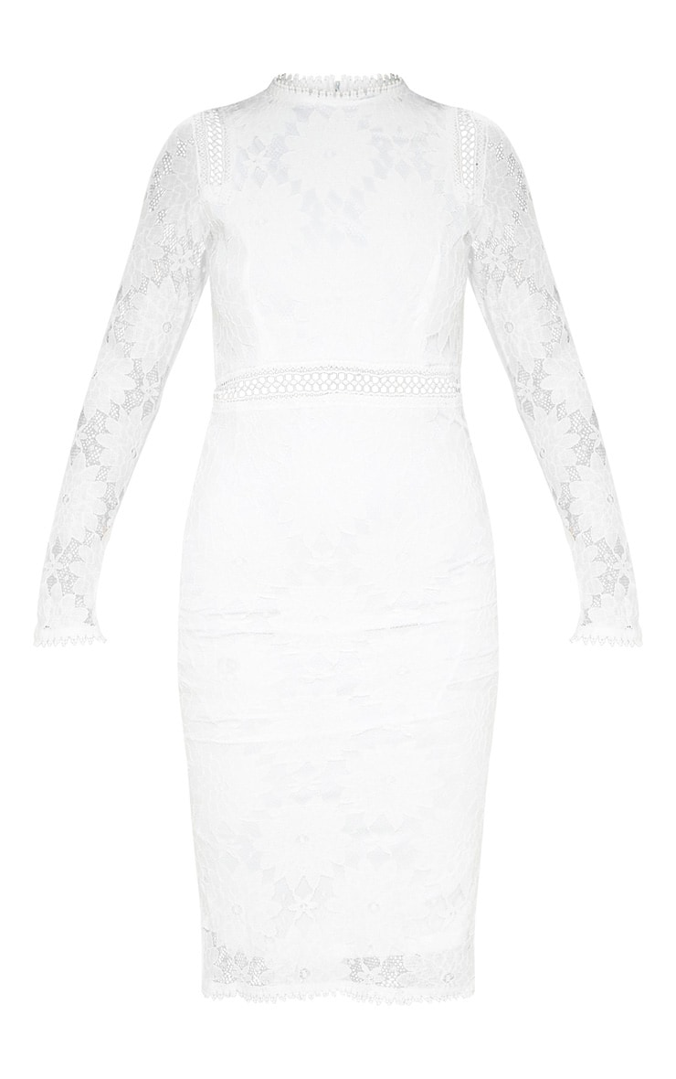 Caris robe moulante en dentelle à manches longues blanche 3