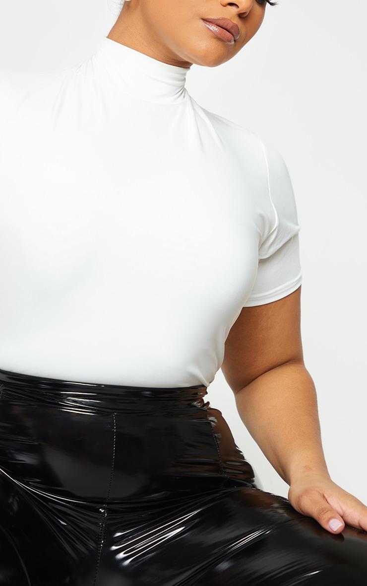 Plus Cream High Neck Short Sleeve Bodysuit 4