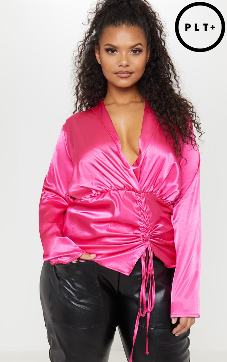 Plus Pink Satin Ruched Side Blouse