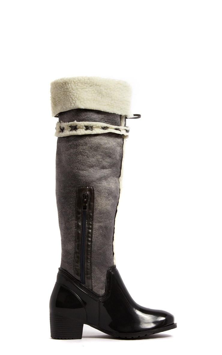 Zanthe Grey Faux Shearling Lined Tassle Riding Boots 2
