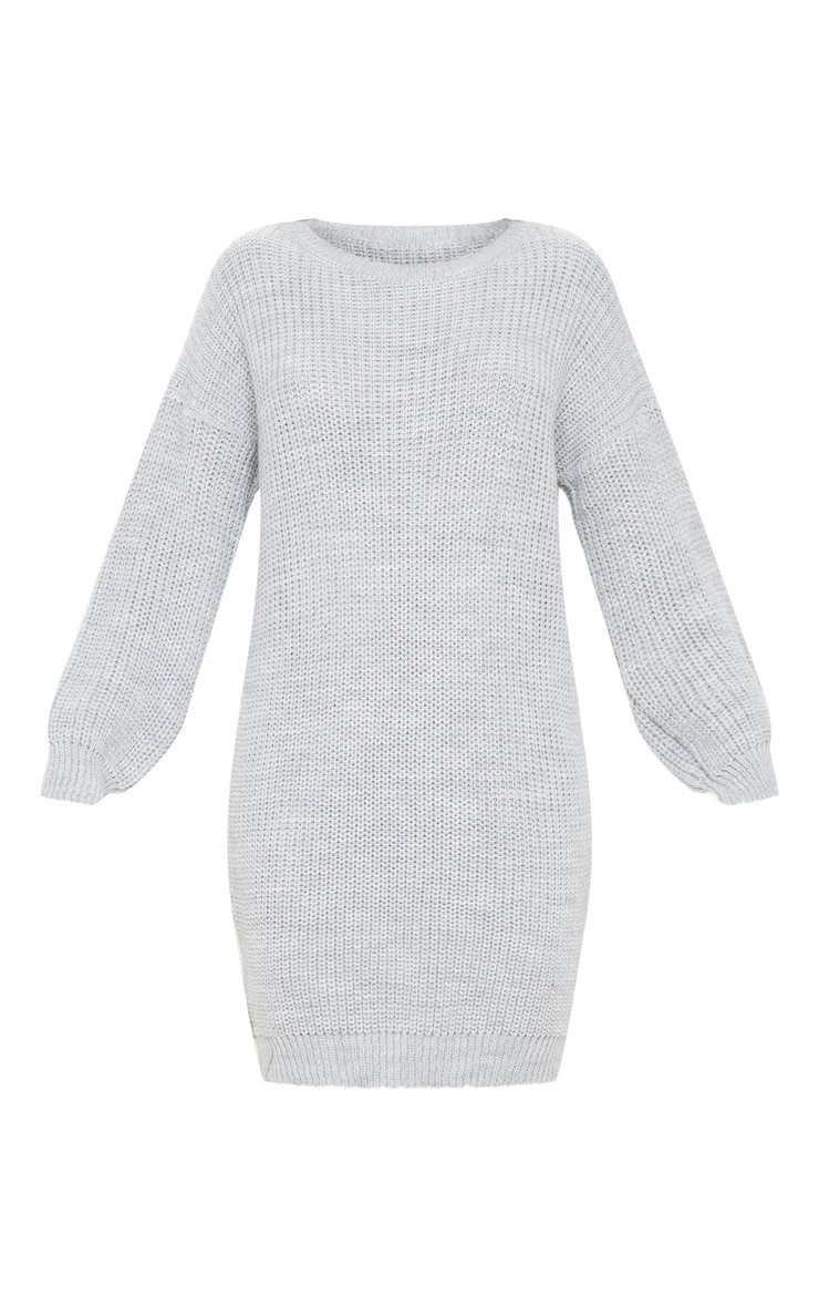 Grey Basic Knit Jumper Dress 3