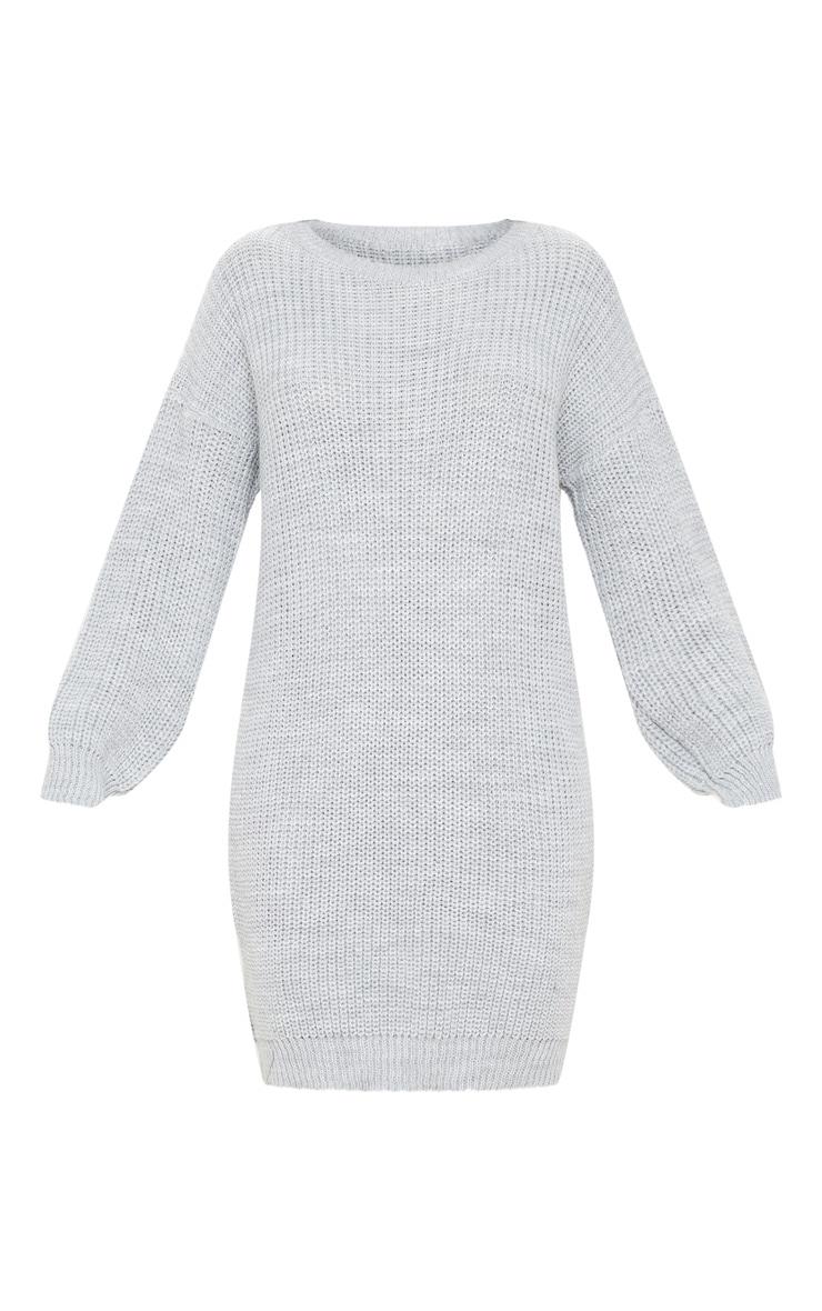 Grey Basic Knit Sweater Dress 3