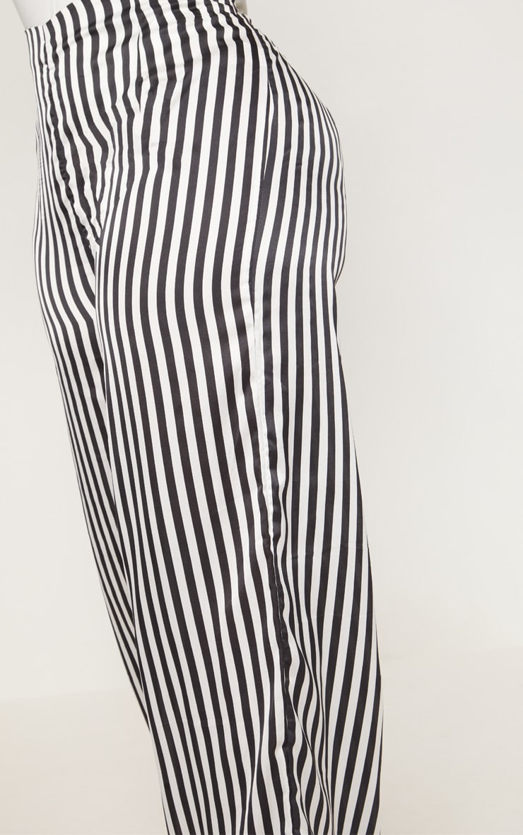 Plus Black Striped Satin Wide Leg Pants 4