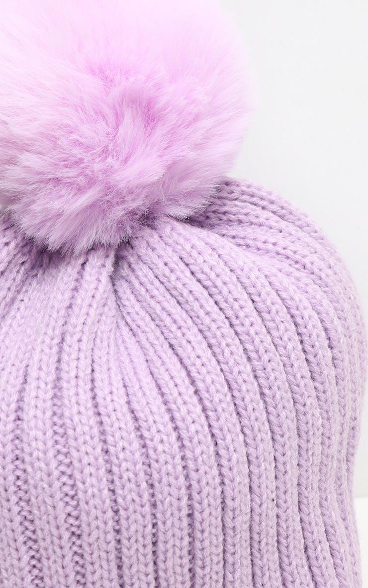 Lilac Rib Knit Pom Pom Beanie Hat 3