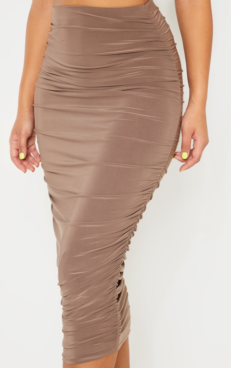 Taupe Slinky Second Skin Ruched Midi Skirt 5