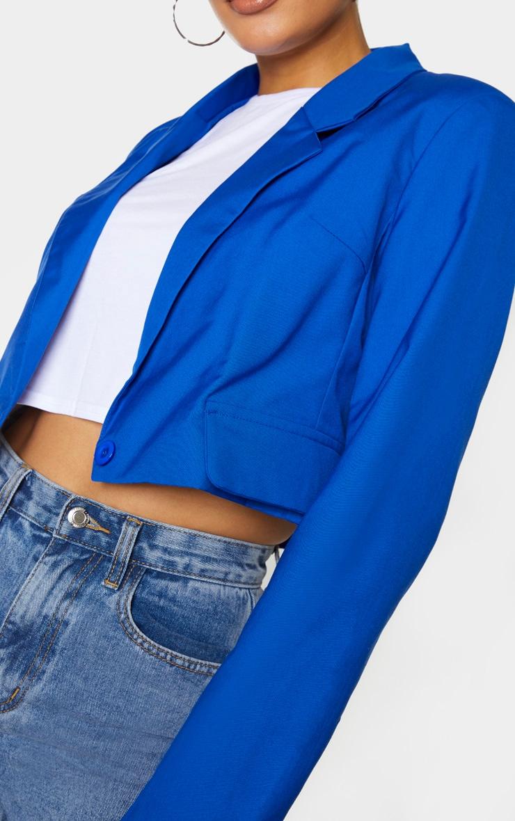 Tall Cobalt Cropped Woven Blazer 4