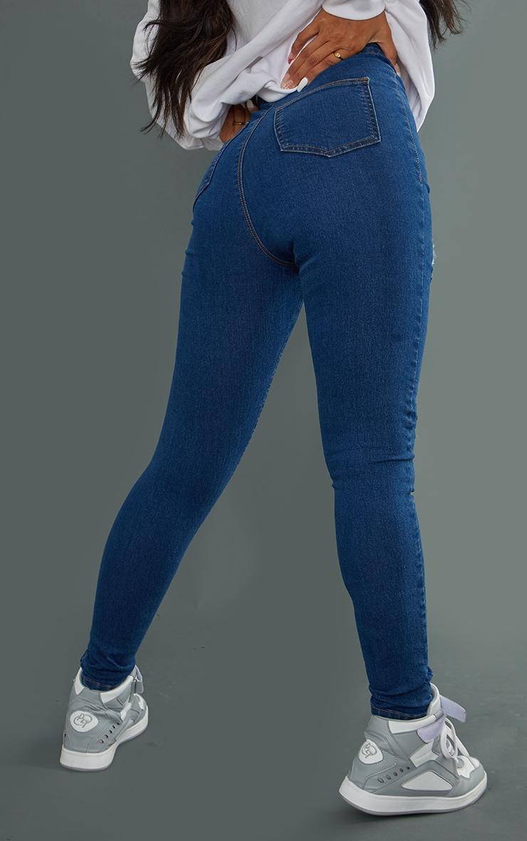 PRETTYLITTLETHING - Jean disco skinny déchiré à délavage bleu moyen 3