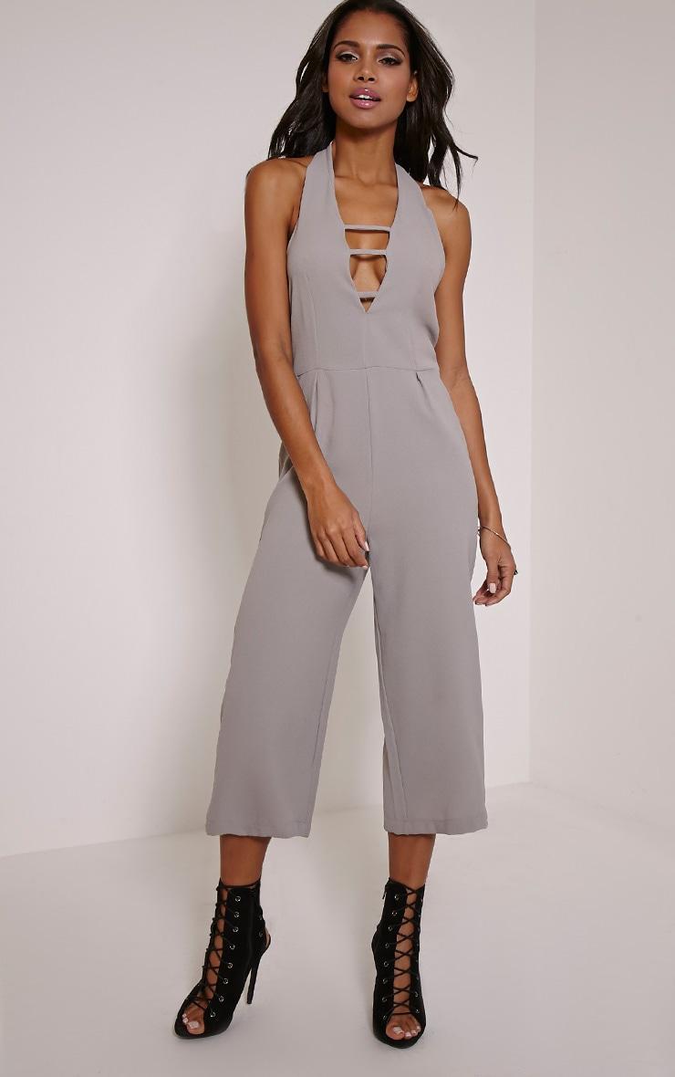 Rena Grey Strap Detail Culotte Jumpsuit 1
