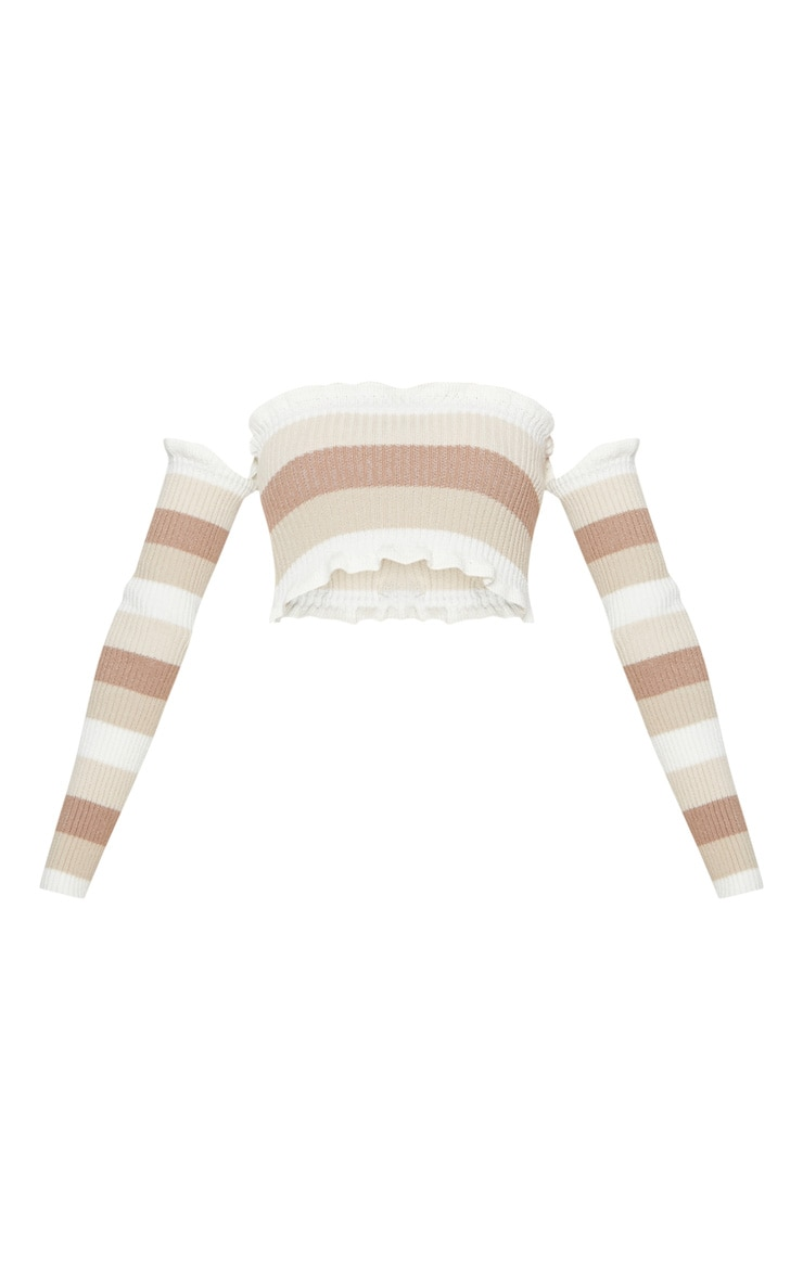 Cream Stripe Knitted Frill bardot top  3