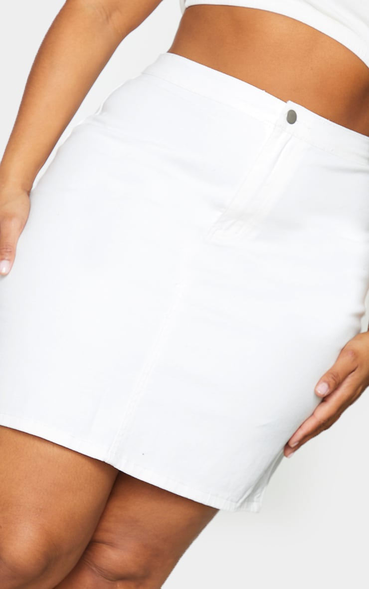Plus White Disco Fit Denim Skirt 5