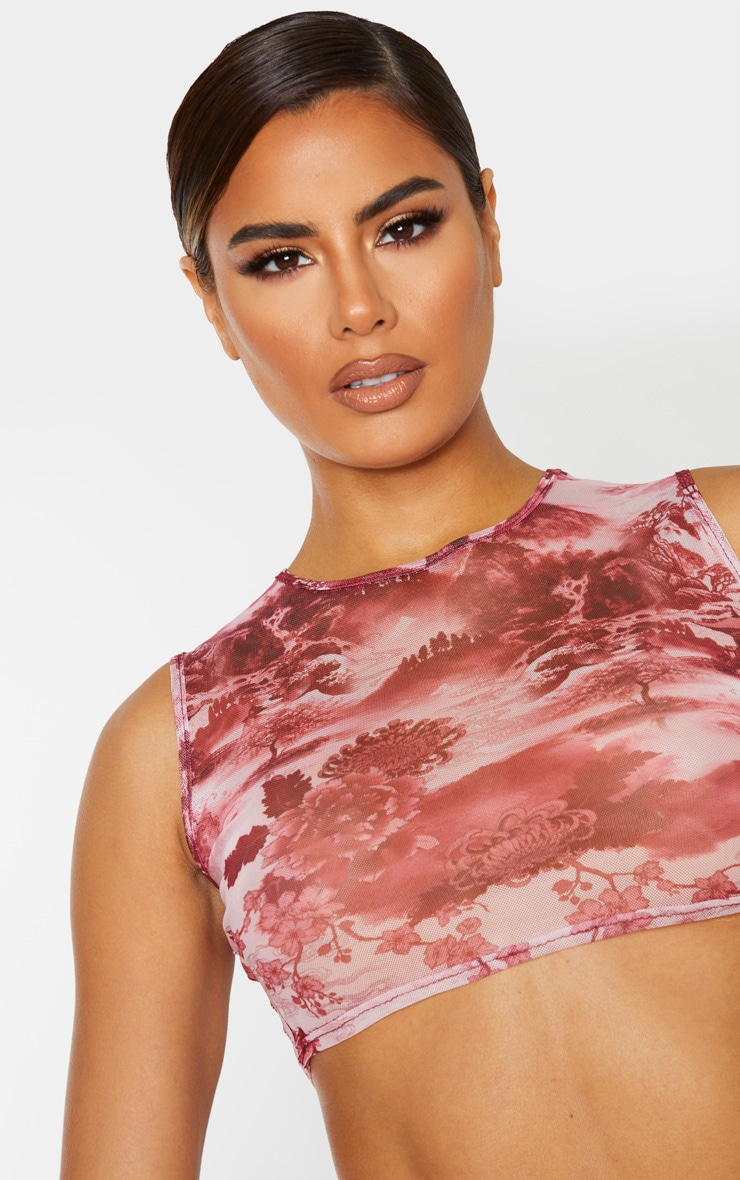 Tall Pink Oriental Print Mesh Sleeveless Crop Top 5