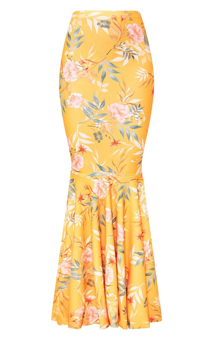 Orange Tropical Print Fishtail Maxi Skirt 4