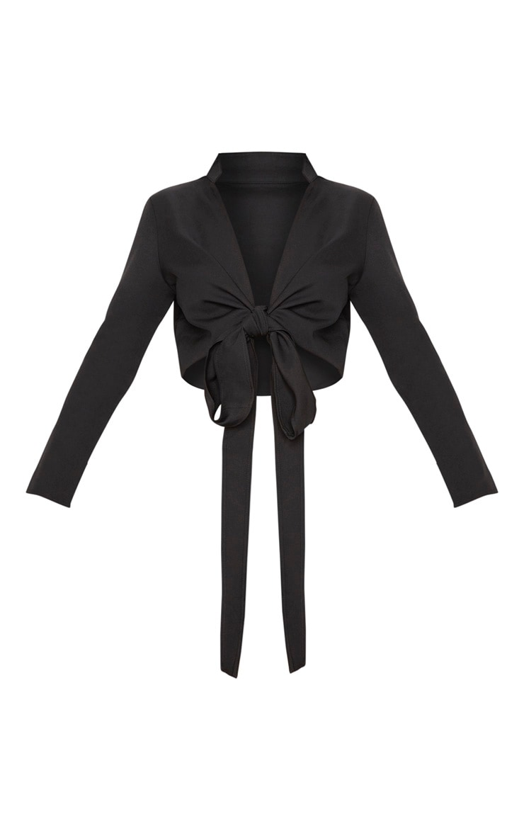 Blanche Black Tie Front Long Sleeve Crop Blouse 3