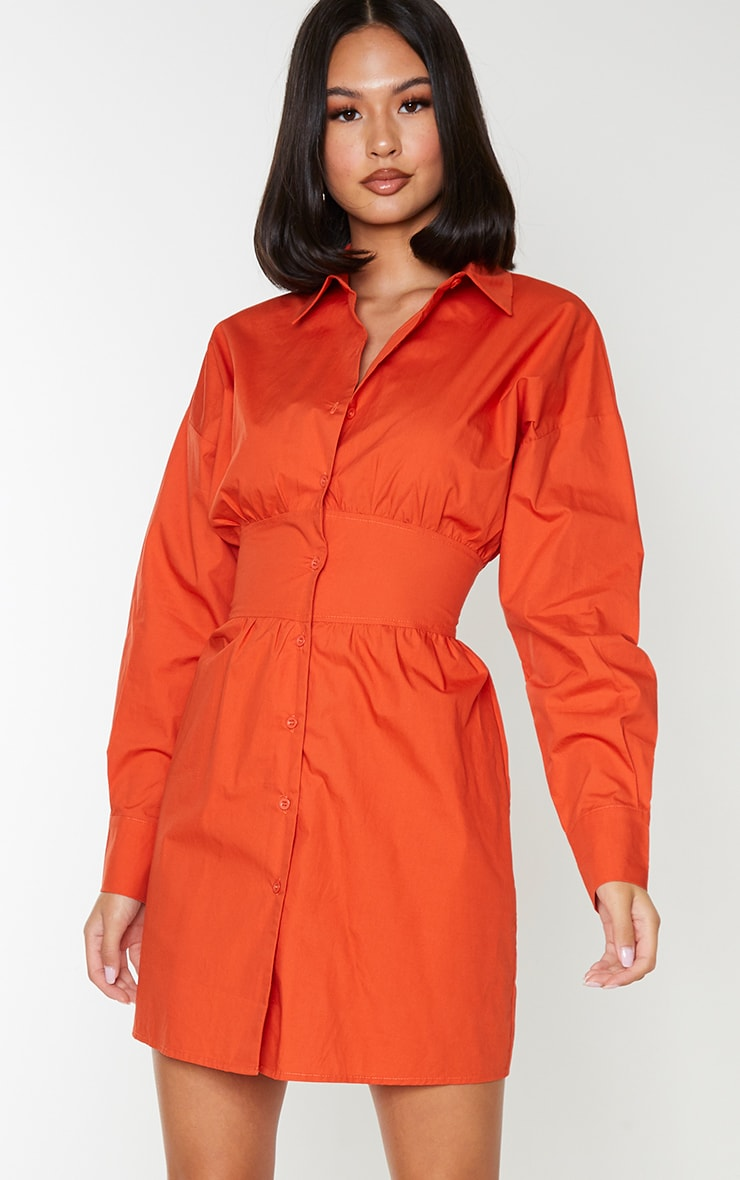 Rust Waist Binding Detail Long Sleeve Shirt Dress 3