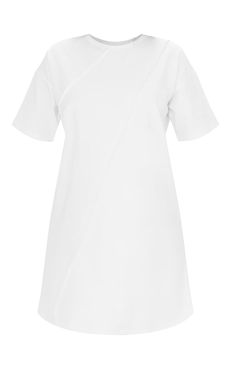 Maternity White Oversized Seam Detail T-Shirt Dress 5