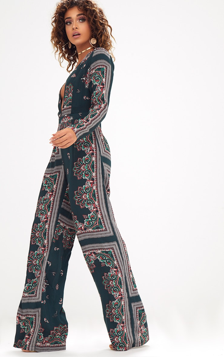 Forest Green Scarf Print Long Sleeve Plunge Jumpsuit 4