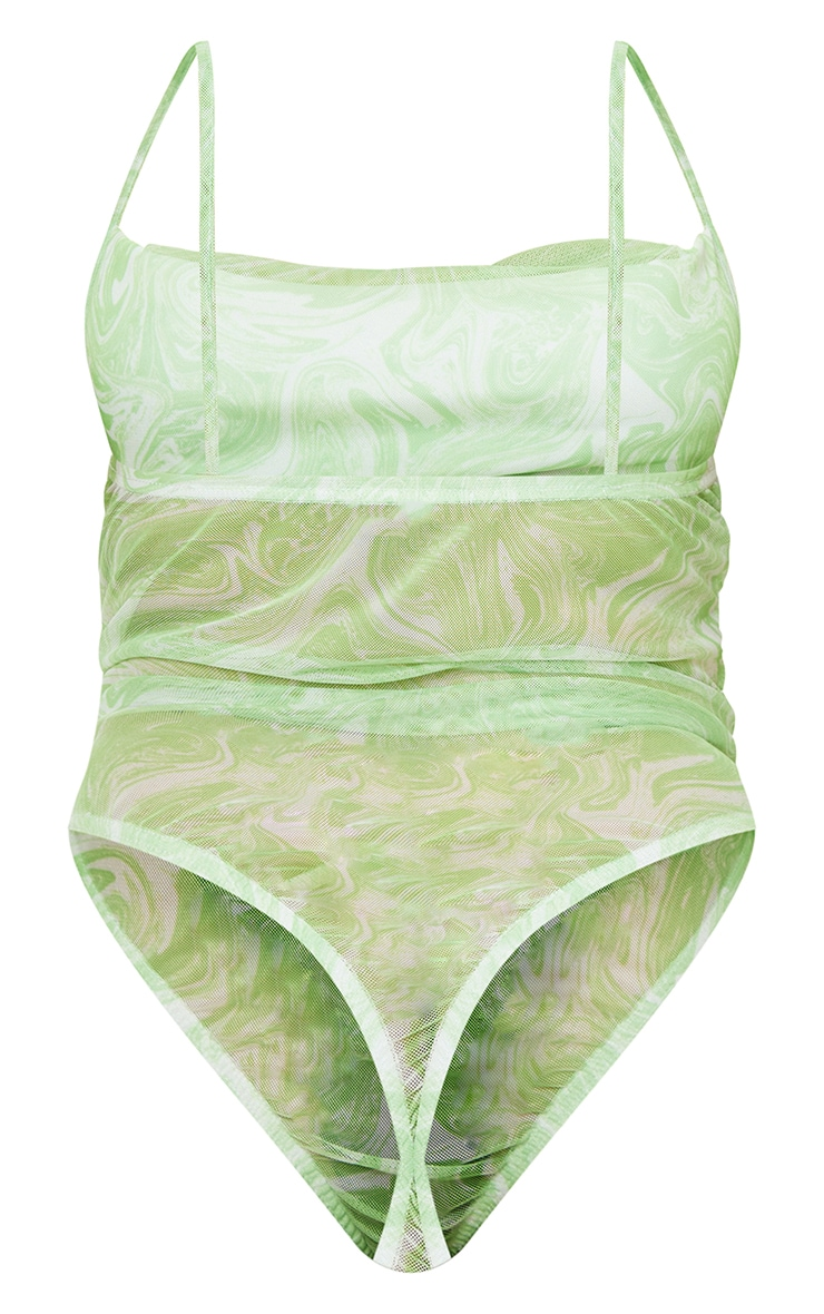 Petite Green Marble Print Mesh Cowl Neck Strappy Bodysuit 6