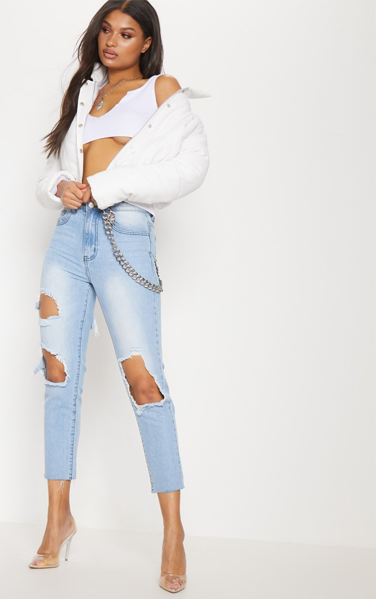 White Peach Skin Cropped Puffer Jacket 4