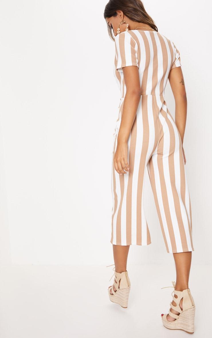 Stone Stripe Tie Front Culotte Jumpsuit 3