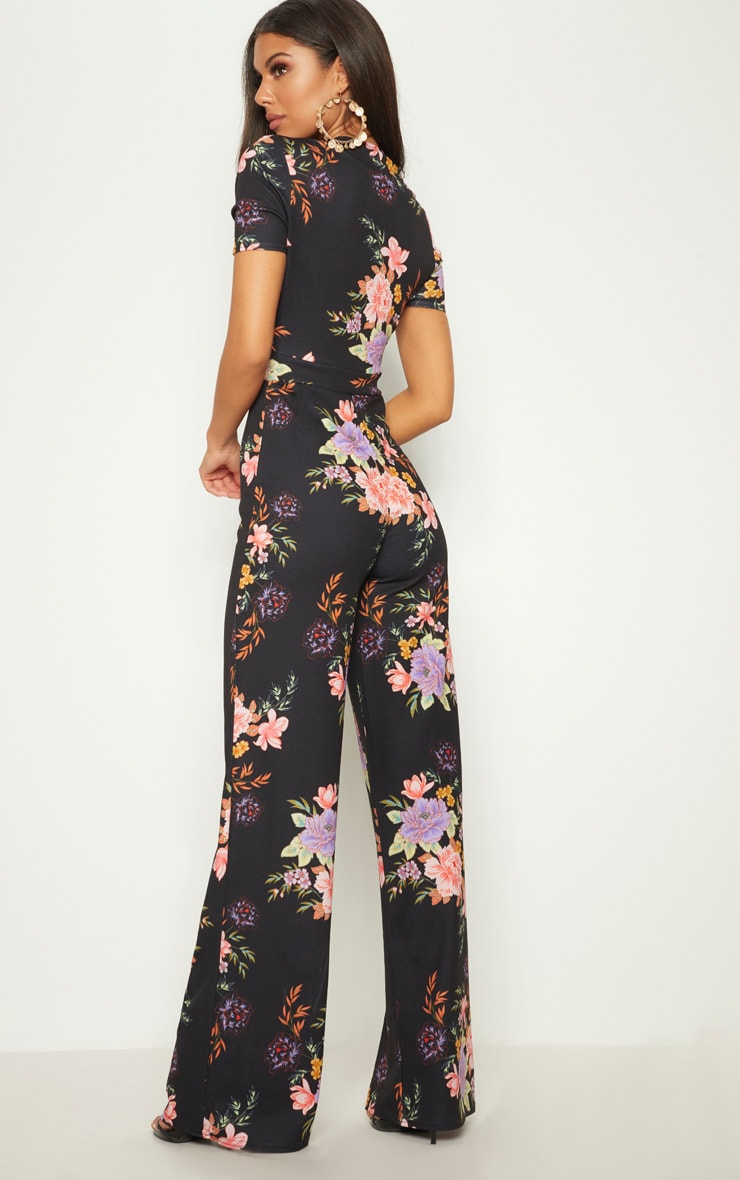 Black Floral Crepe Short Sleeve Plunge Jumpsuit 2