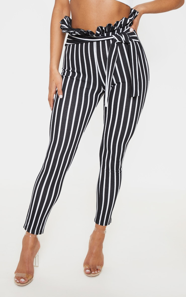 Black Pinstripe Paperbag Skinny Trousers  2