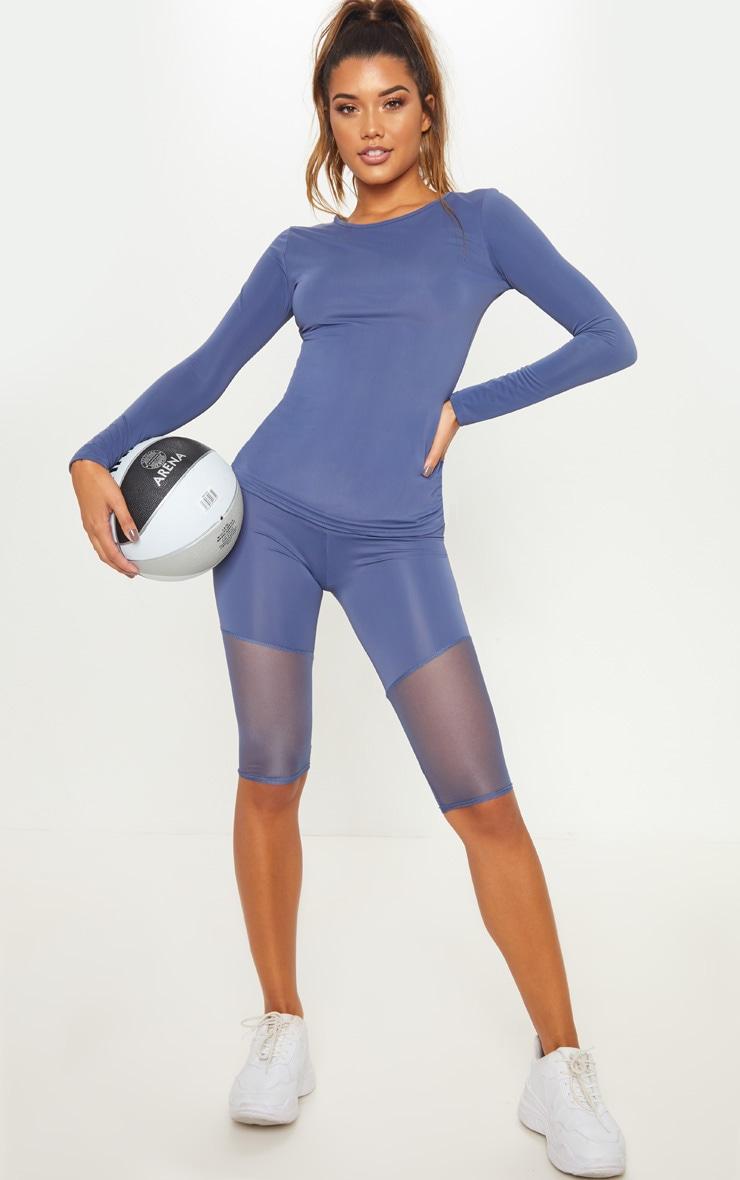 Legging gym basique bleu pétrole à parties mesh 1 6a43054963d