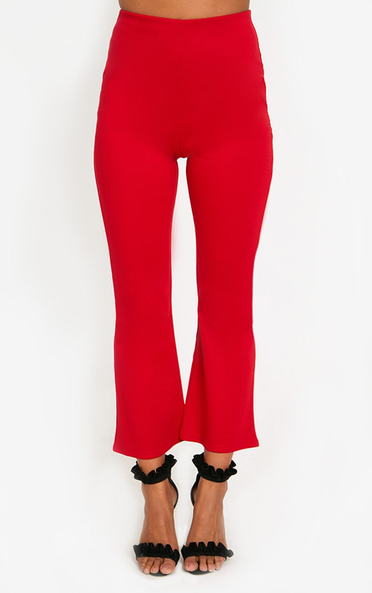 Red Kick Flare Cropped Trousers 2
