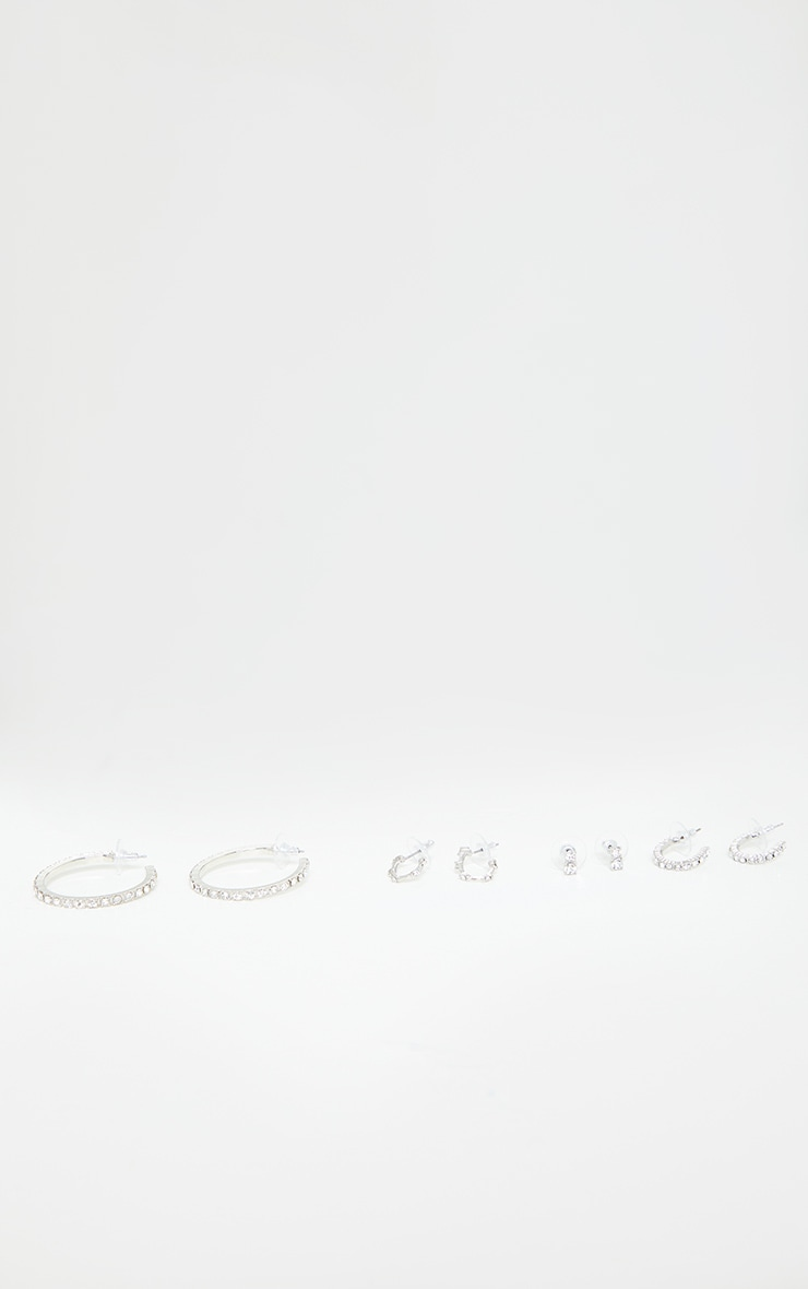 Silver Diamante Assorted Earrings 2
