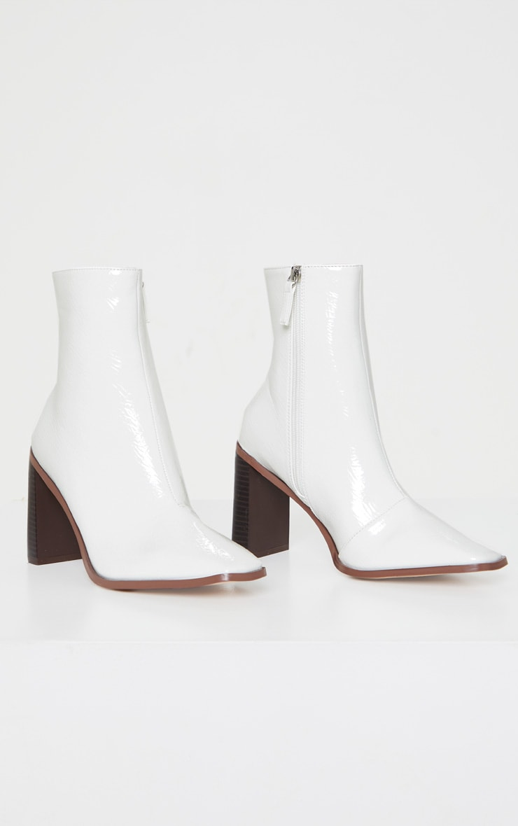 White Patent Flat Heel Square Toe Sock Boot 3