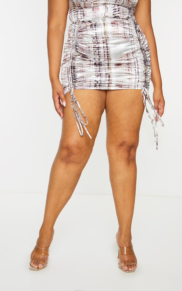 Plus Brown Abstract Print Satin Ruched Skirt 2