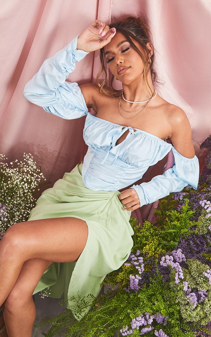 Blue Satin Bardot Ruched Detail Long Sleeve Dipped Hem Crop Top 1