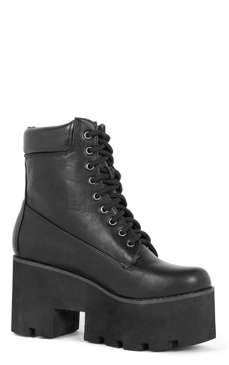 Nova Black Lace Up Wedged Boot 4