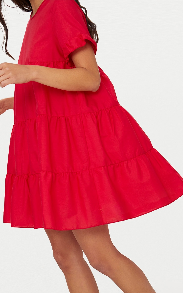 Red Tiered Poplin Smock Dress 5