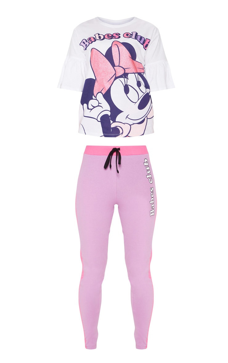 White DISNEY Minnie Mouse Babes Club Legging PJ Set  3