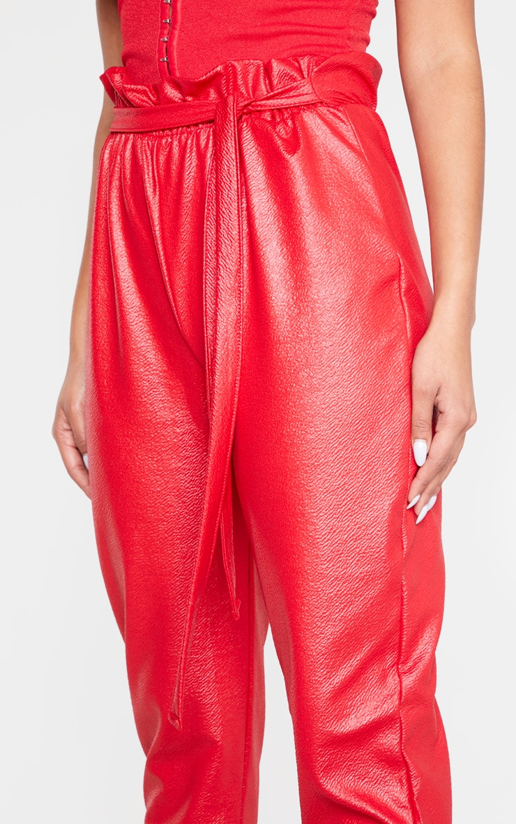 Red Coated Paperbag Waist Trouser 5