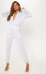 Silver Glitter Mesh High Waisted Crop Trouser 1