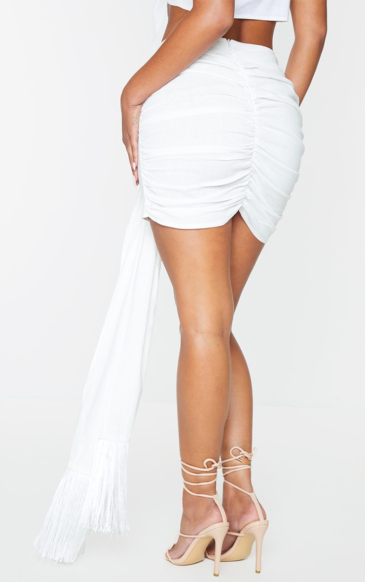 White Linen Feel Ruched Bum Extreme Tie Detail Mini Skirt 3