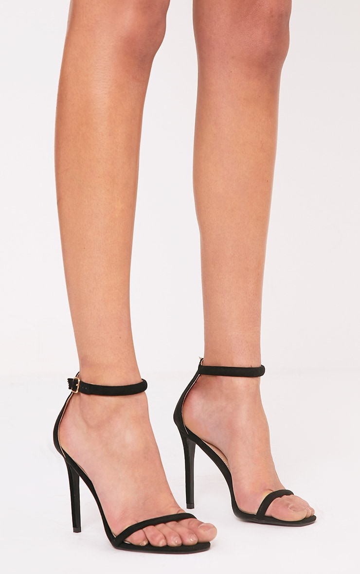 Ruby Black Square Toe Strappy Heels 1