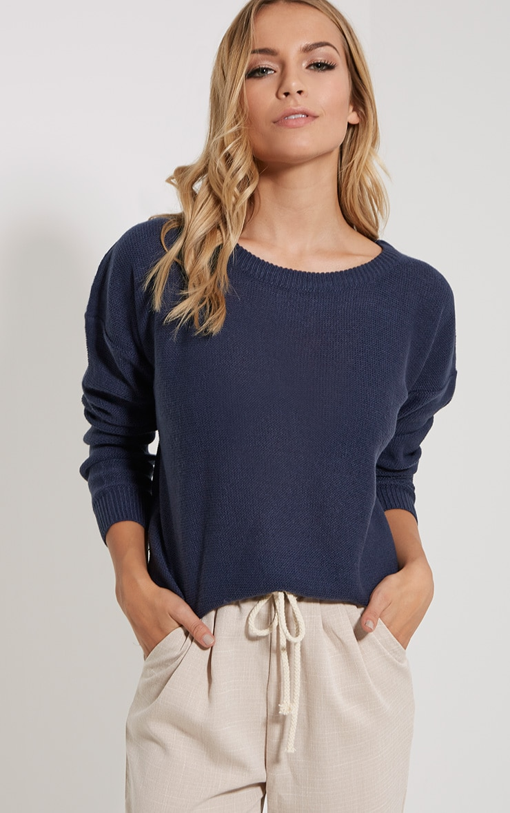 Farren Indigo Knitted Crop Jumper 1