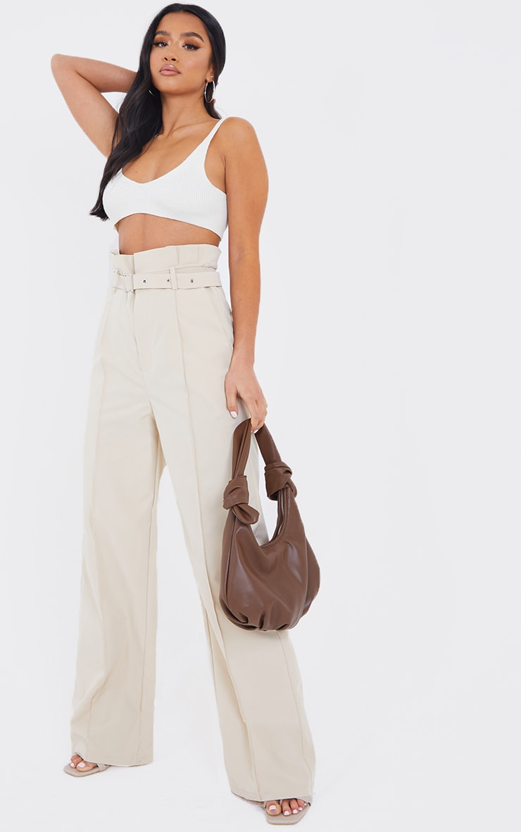Petite Stone Wide Leg Paperbag Pants