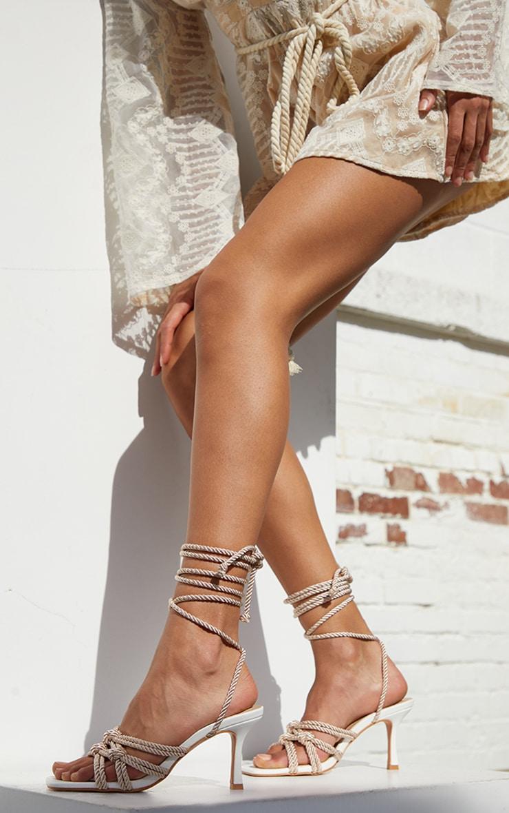 Sandales à talons bas et lacets en corde naturelle 1