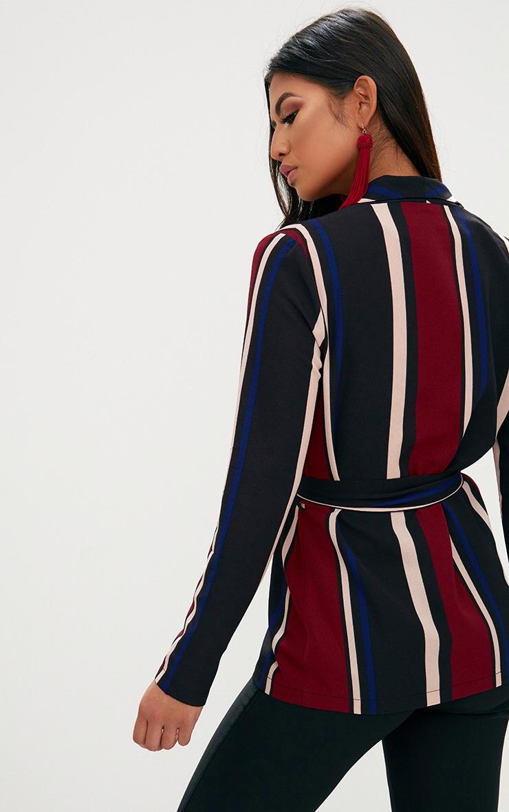 Cobalt Stripe Belted Blazer 2